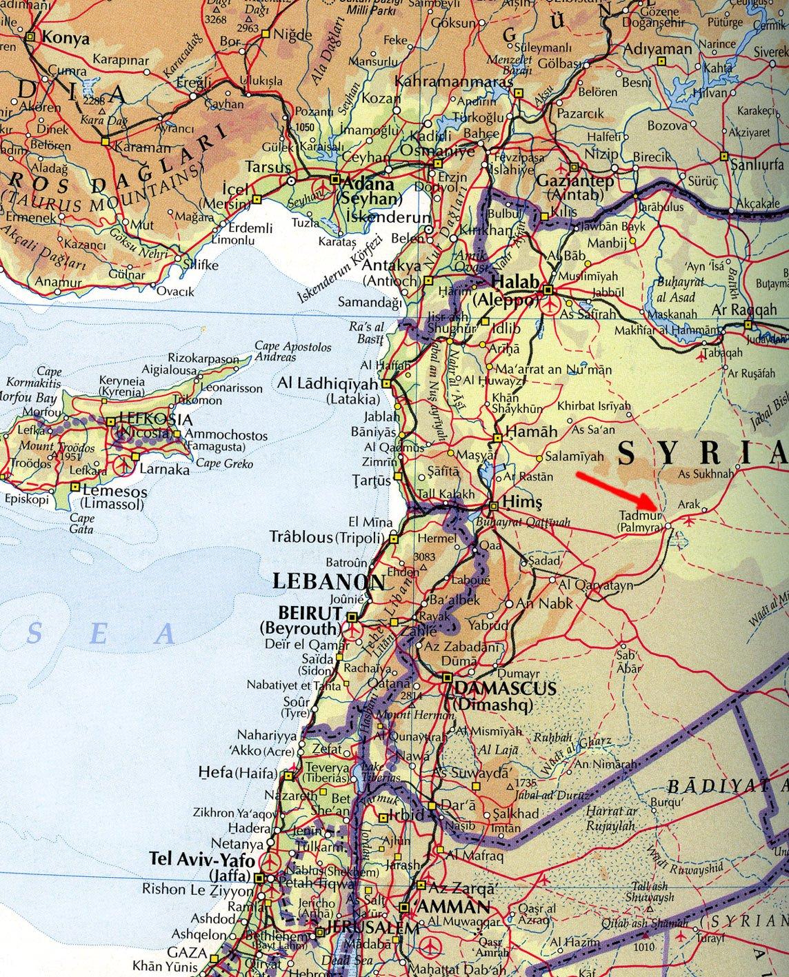 Где на карте находится пальмира
