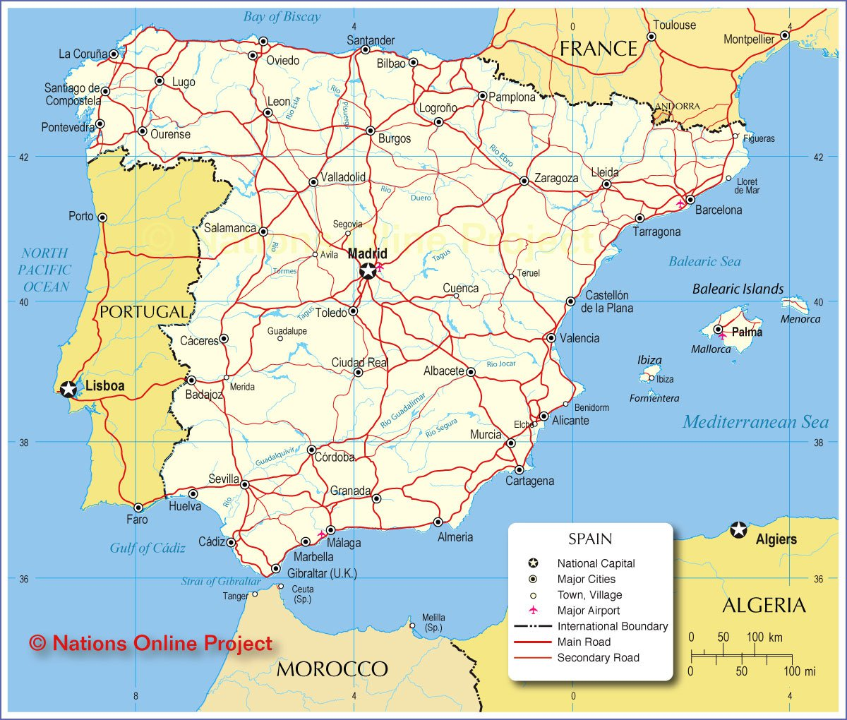 Karty Ispanii Podrobnaya Karta Ispanii Na Russkom Yazyke S