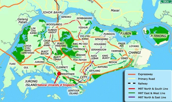 Karty Singapura Singapur Podrobnaya Karta Singapura Na Russkom