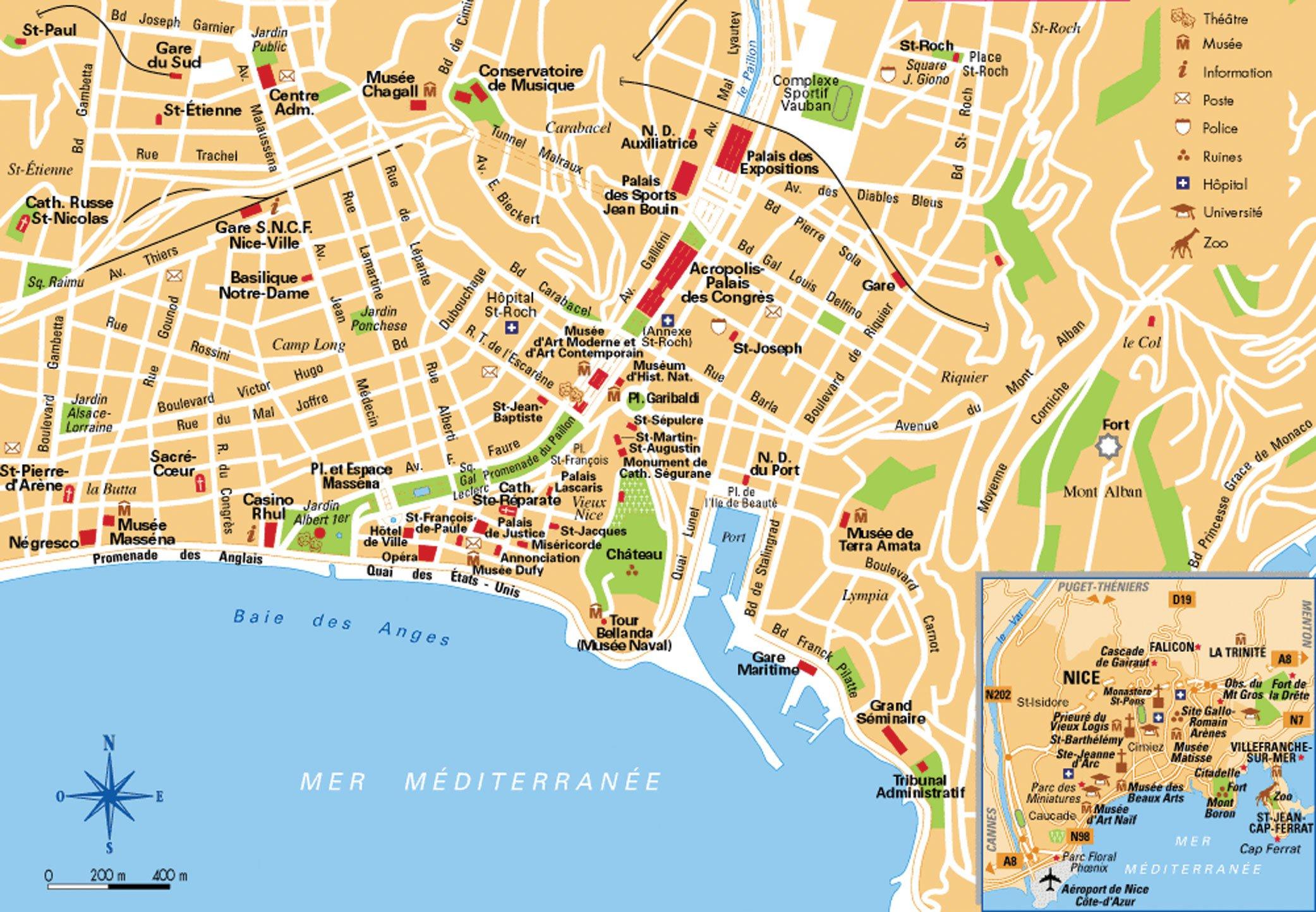 Карты Ниццы Франция Подробная карта Ниццы на русском