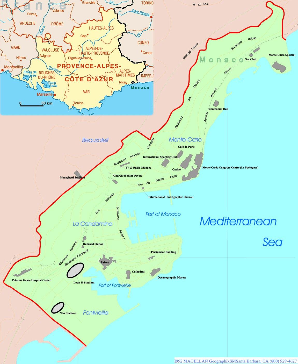 Karty Monako Podrobnaya Karta Monako Na Russkom Yazyke S Kurortami