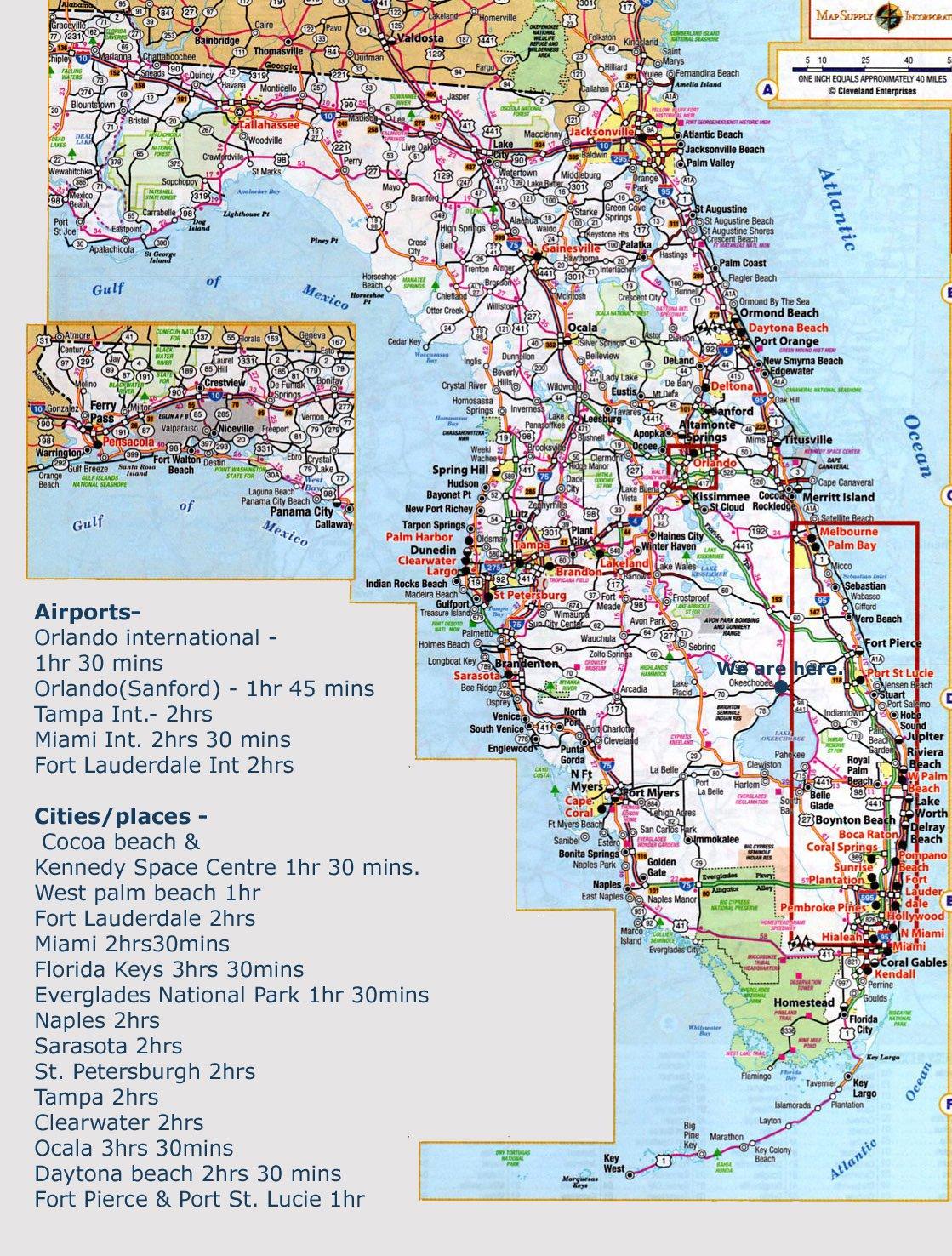 Karty Floridy Ssha Podrobnaya Karta Floridy Na Russkom Yazyke S