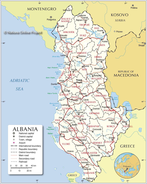 Karty Albanii Podrobnaya Karta Albanii Na Russkom Yazyke S
