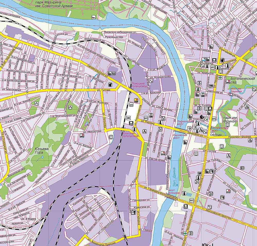 Карты Витебска (Беларусь). Подробная карта Витебска на русском языке ... b8f4aa85cb1