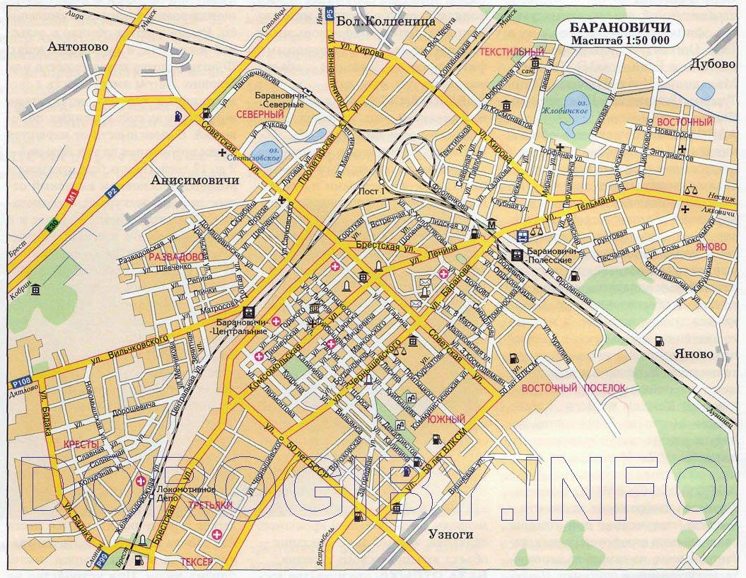 Карты Баранович (Беларусь). Подробная карта Баранович на русском ... b13250aa236
