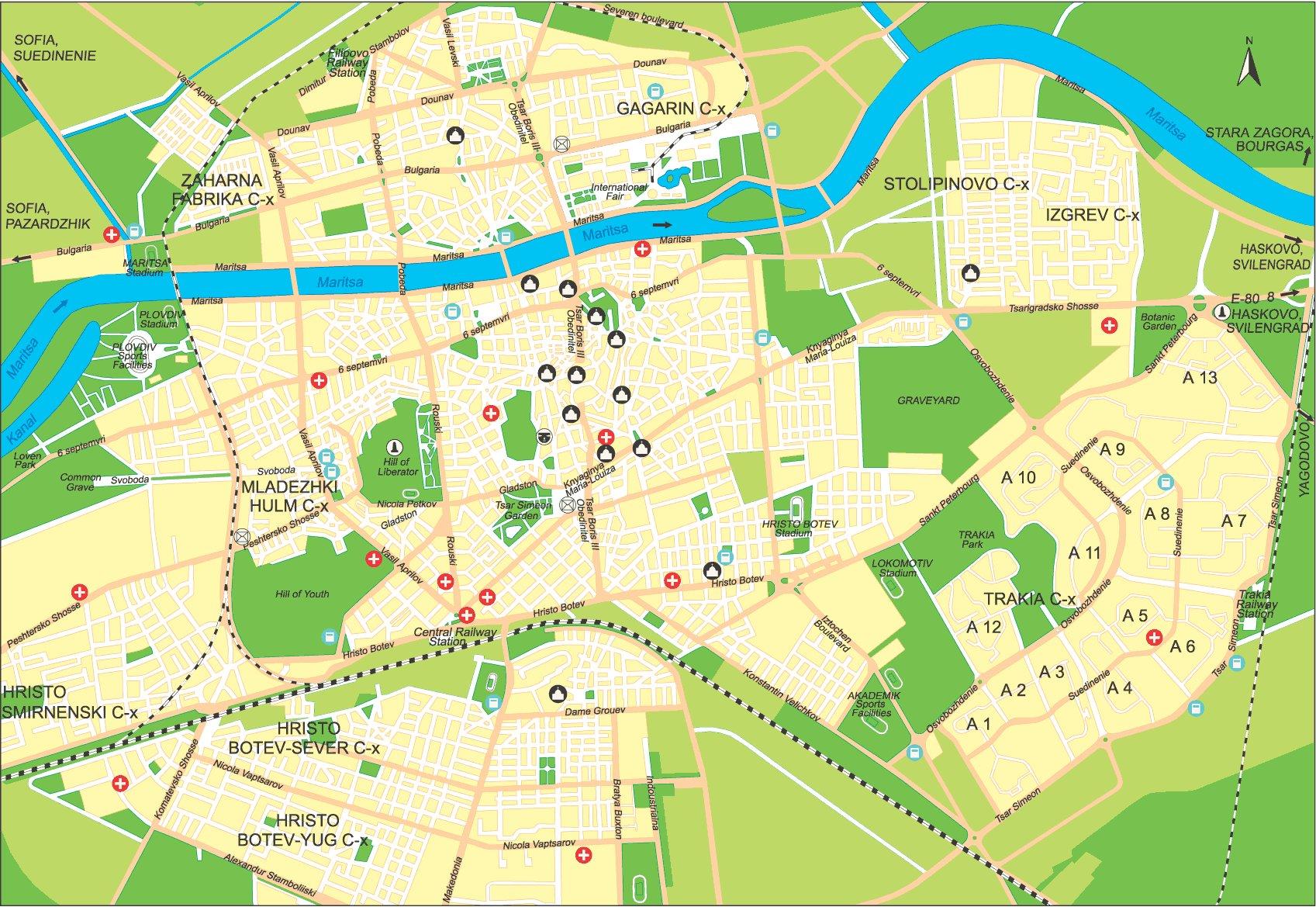 Karty Plovdiva Bolgariya Podrobnaya Karta Plovdiva Na Russkom