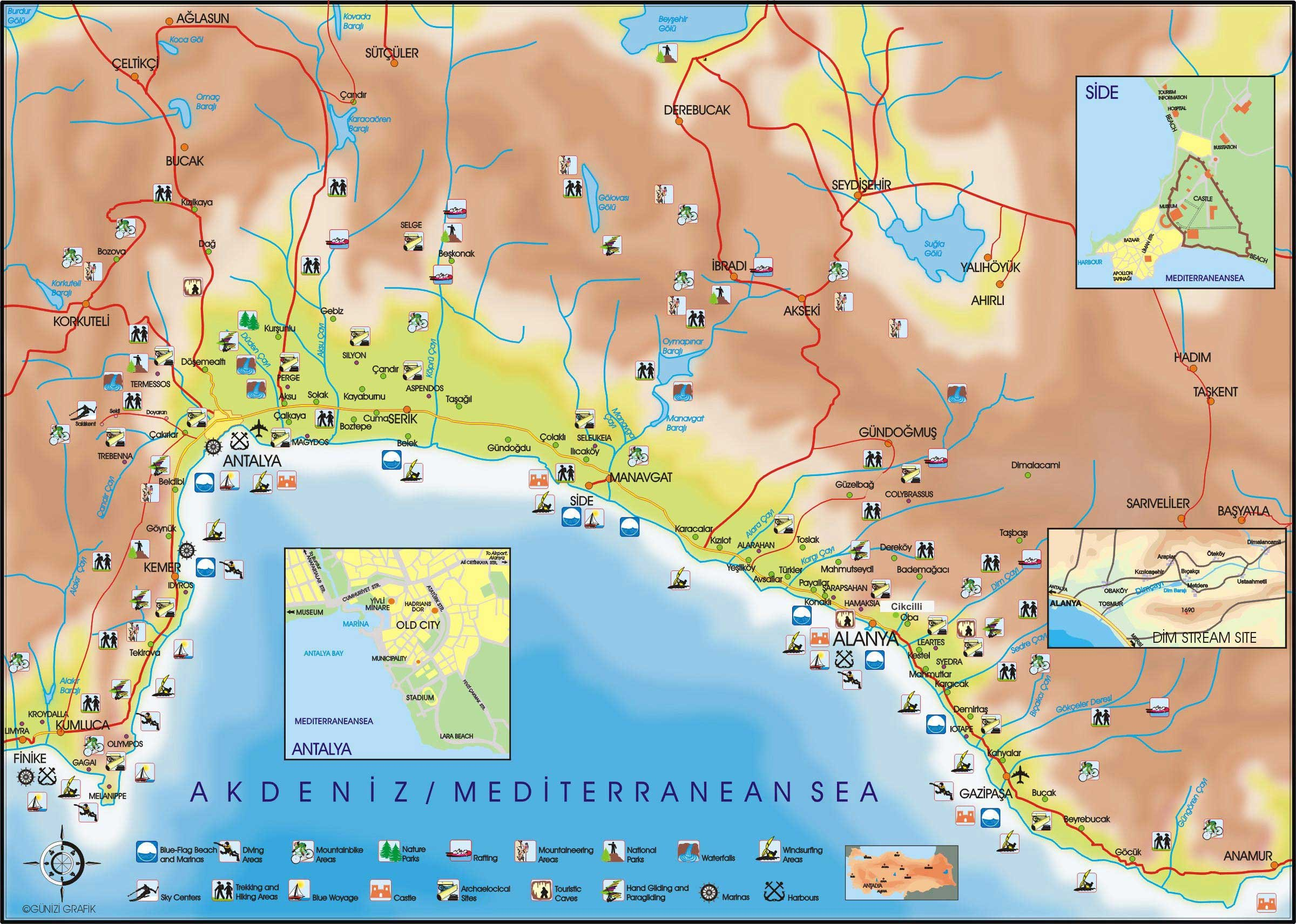 Karty Antalii Turciya Podrobnaya Karta Antalii Na Russkom Yazyke S