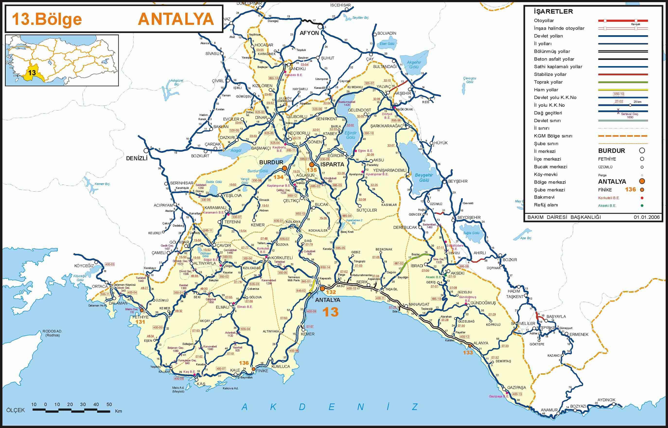 Karta Antalii Map Of Antalya