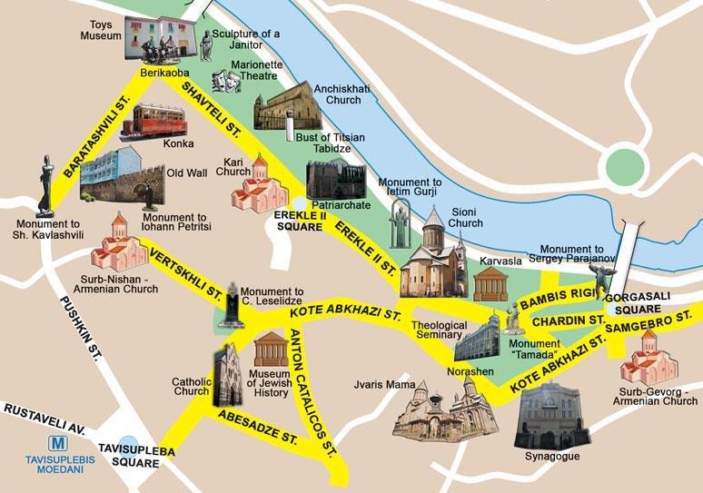 Karty Tbilisi Gruziya Podrobnaya Karta Tbilisi Na Russkom Yazyke S