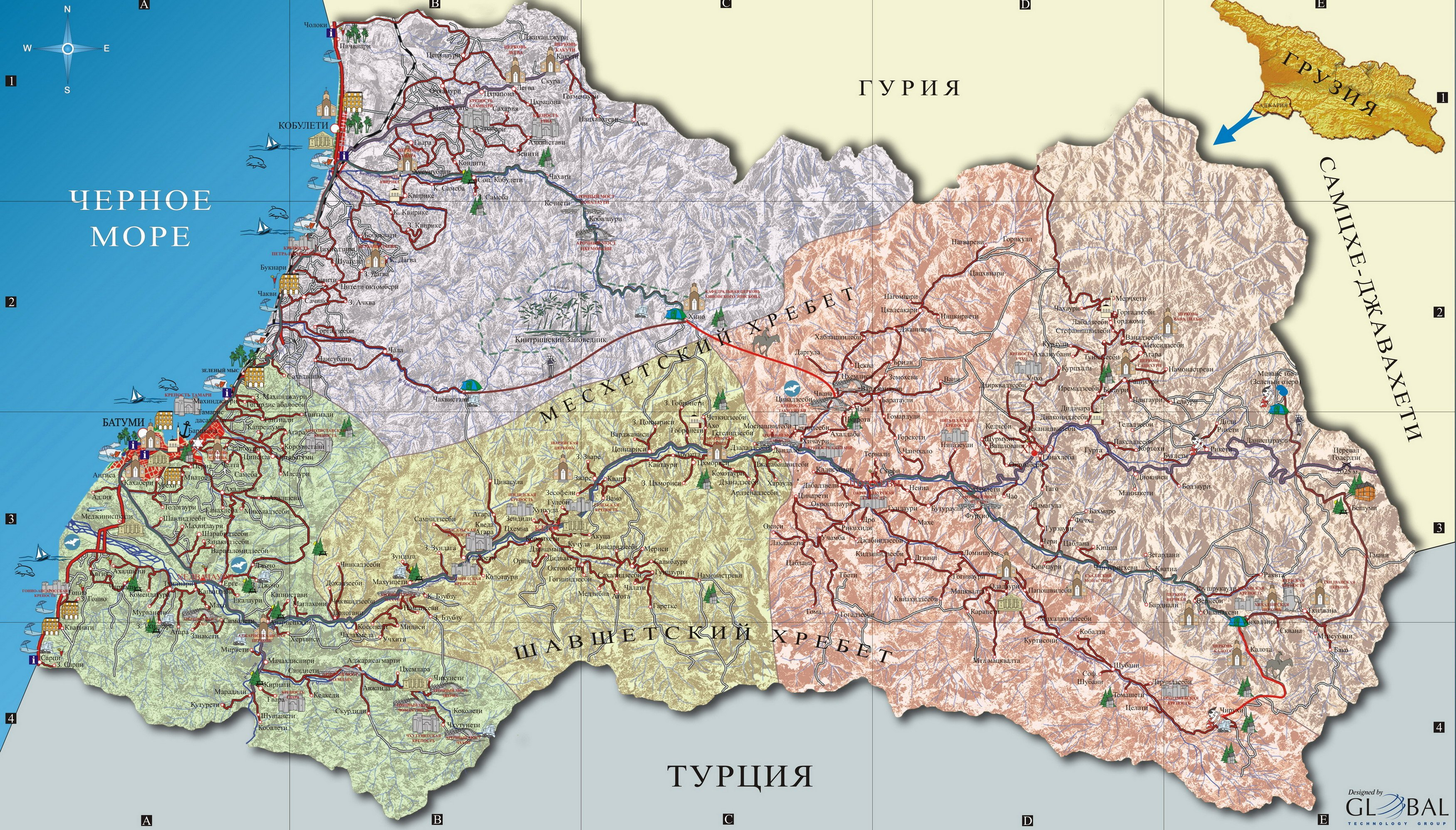 Karty Gruzii Podrobnaya Karta Gruzii Na Russkom Yazyke S Kurortami I