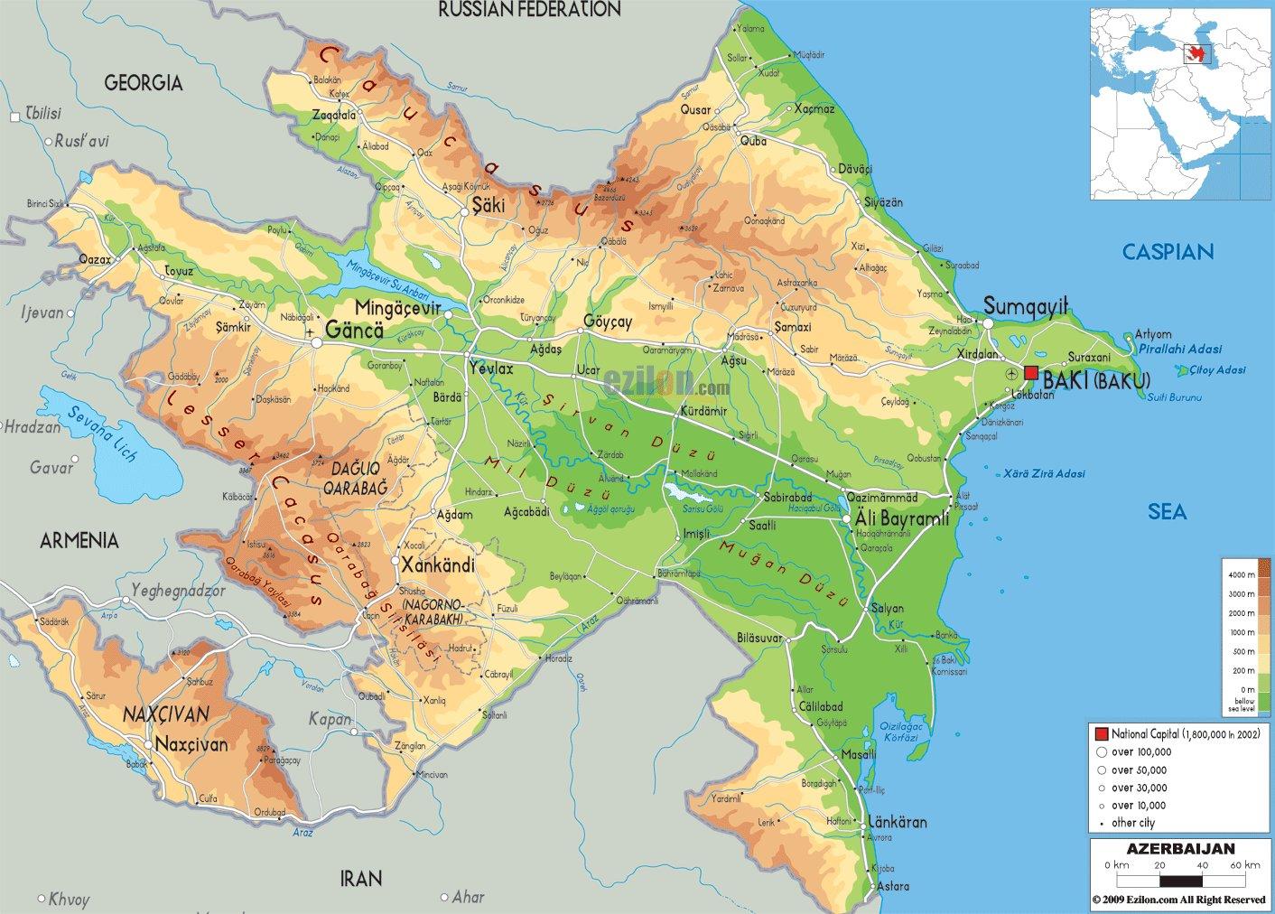 Karty Azerbajdzhana Podrobnaya Karta Azerbajdzhana Na Russkom Yazyke