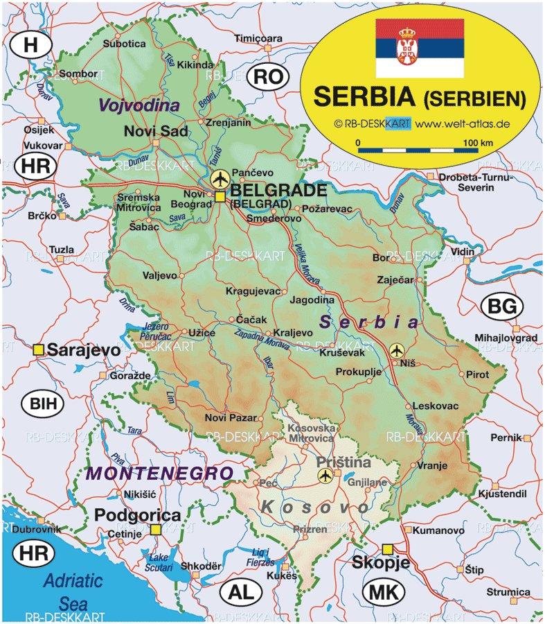 Сербия на карте схема