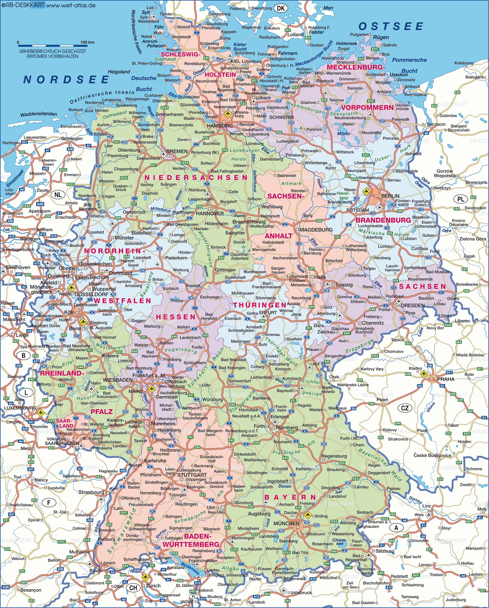 Karty Germanii Podrobnaya Karta Germanii Na Russkom Yazyke S