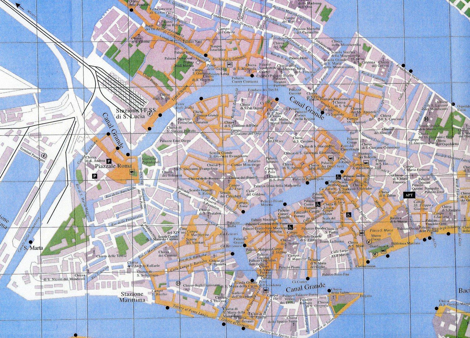 Karty Venecii Italiya Podrobnaya Karta Venecii Na Russkom Yazyke S