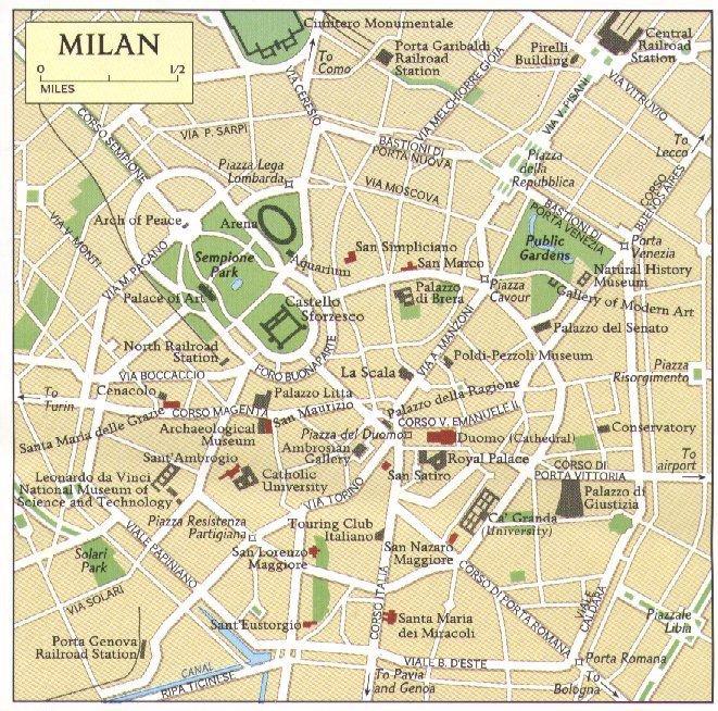 Karty Milana Italiya Podrobnaya Karta Milana Na Russkom Yazyke S