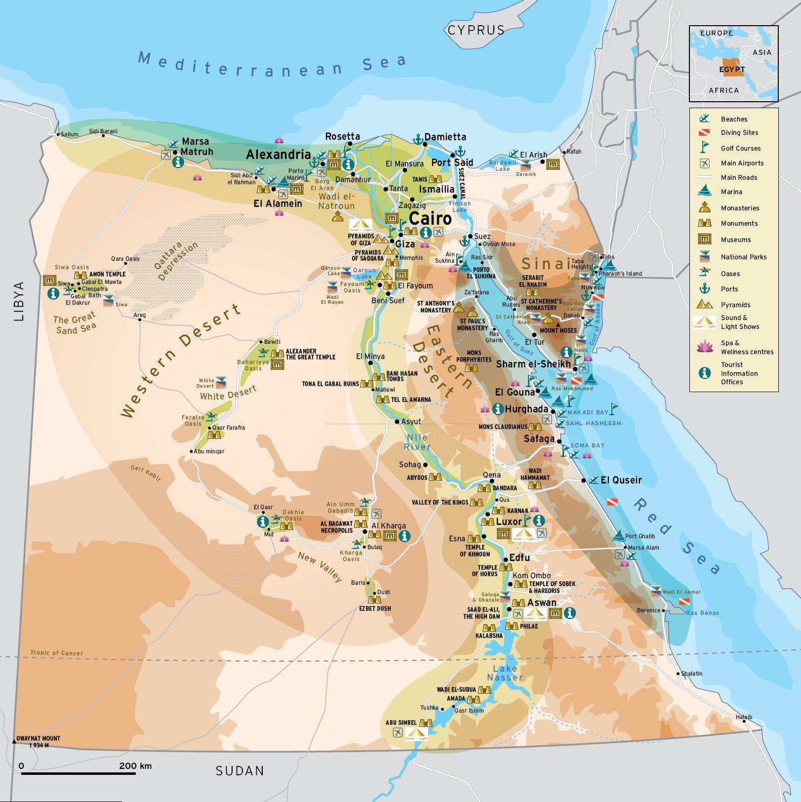 Karty Egipta Podrobnaya Karta Egipta Na Russkom Yazyke S Kurortami